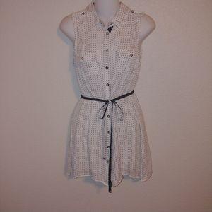 White house black market silk polka dot blouse